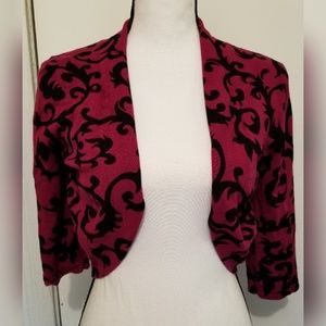 Larry Levine Red Wine Cardigan Cropped Open Front